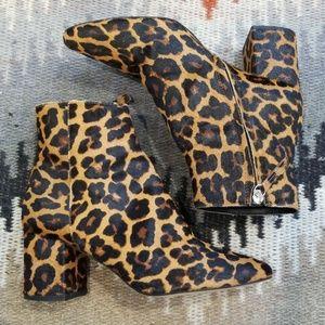 Stunning ZARA Leopard Calf Hair Booties Sz 38